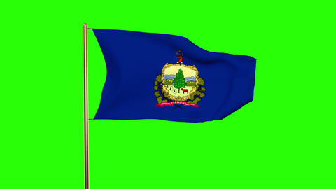 Vermont flag waving in the wind. Green screen, alpha matte. Loopable animation Animation