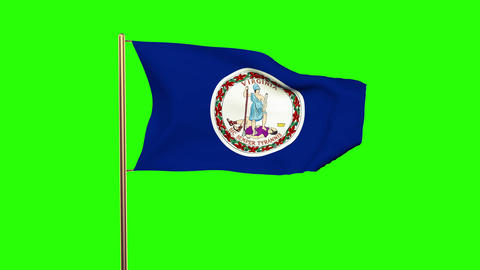 Virginia flag waving in the wind. Green screen, alpha matte. Loopable animation Animation