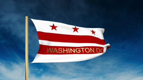 Washington DC flag slider style with title. Waving in the wind with cloud backgr Animation