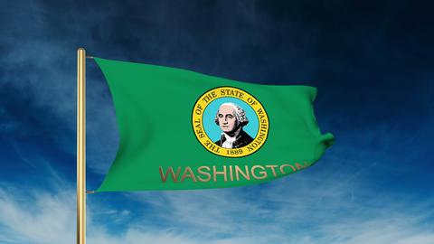 Washington flag slider style with title. Waving in the wind with cloud backgroun Animation