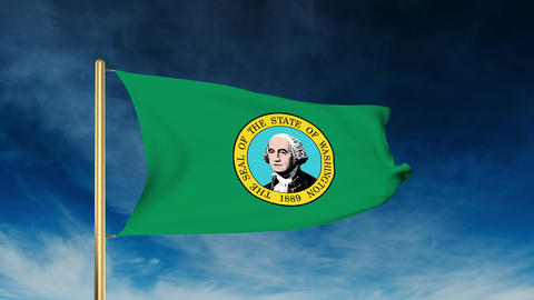 Washington Flag Slider Style. Waving In The Win With Cloud Background Animation stock footage