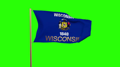 Wisconsin flag with title waving in the wind. Looping sun rises style. Animation Animation
