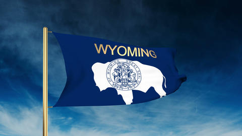 Wyoming flag slider style with title. Waving in the wind with cloud background a Animation