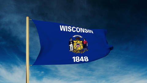 Wisconsin flag slider style. Waving in the win with cloud background animation Animation