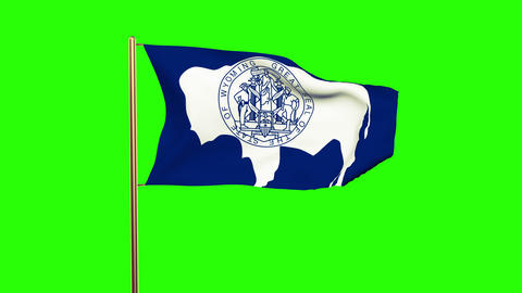 Wyoming flag waving in the wind. Green screen, alpha matte. Loopable animation Animation