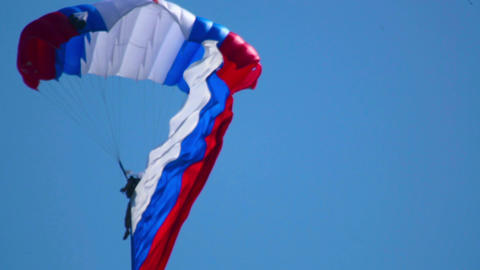 Paratrooper with flag Footage