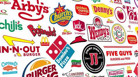 Food Brands Logo Loop stock footage