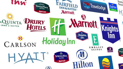 Hotel Brands Logo Loop stock footage