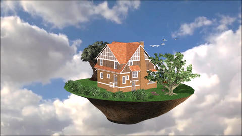 Flying House Live Environment For Promotion Property... Stock Video Footage