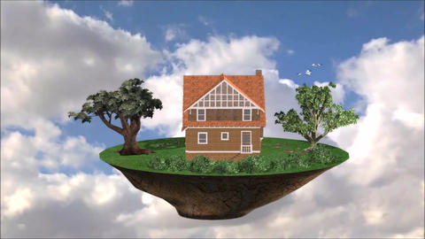 Flying House Live Environment For Promotion Property Financial Loan Bank stock footage