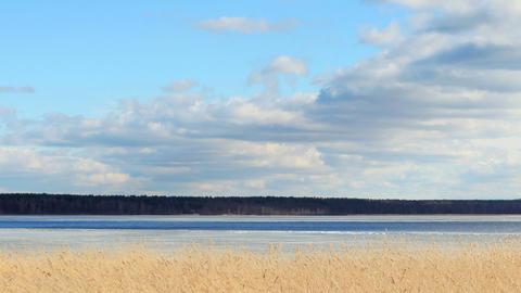 Movement of clouds over the river Vuoksi, Losevo village, Leningrad region, Russ Footage