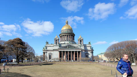 RUSSIA, ST. PETERSBURG - MARCH, 2015: Movement of clouds over St. Isaac's Cathed Live Action