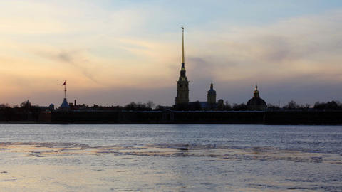 Sunset on the Neva River in St. Petersburg, Russia. Full HD Footage