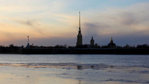 Sunset on the Neva River in St. Petersburg, Russia. Full HD, Live Action