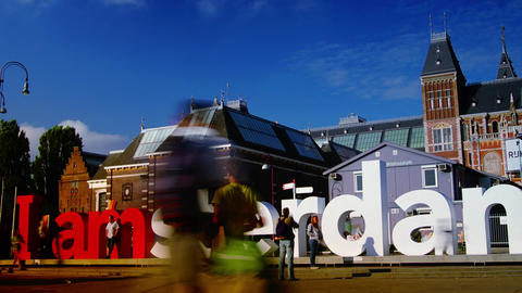 The Rijksmuseum Amsterdam museum area with the words IAMSTERDAM. time lapse,4k Footage