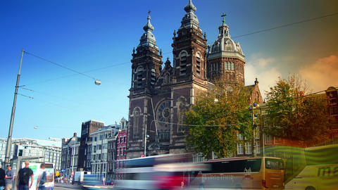 Amsterdam Cityscape With Saint Nicholas Basilica,time Lapse, 4k,zoom And Pan stock footage