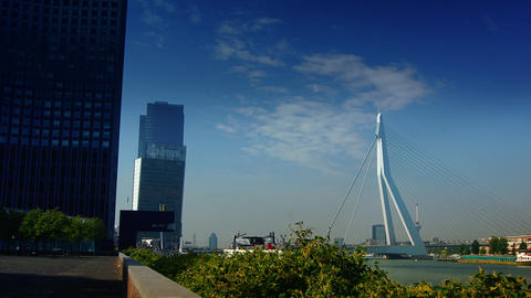 The Erasmus Bridge links diferent regions of Rotterdam Footage