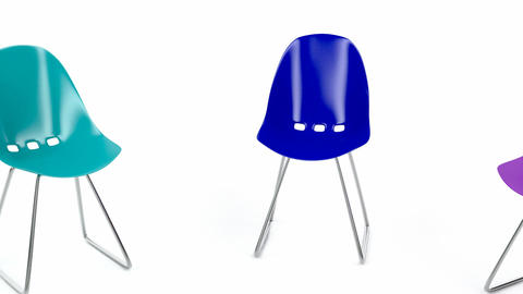 Colorful plastic chairs Stock Video Footage