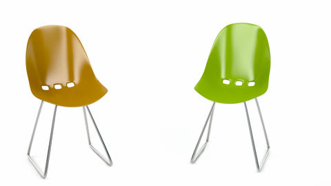 Colorful plastic chairs Animation