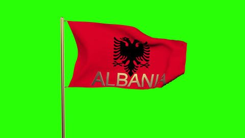 Albania flag with title waving in the wind. Looping sun rises style. Animation l Animation