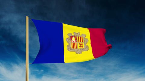Andorra flag slider style. Waving in the win with cloud background animation Animation