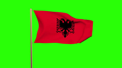 Albania flag waving in the wind. Green screen, alpha matte. Loopable animation Animation