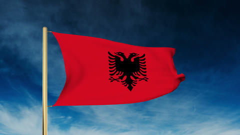 Albania flag slider style. Waving in the win with cloud background animation Animation