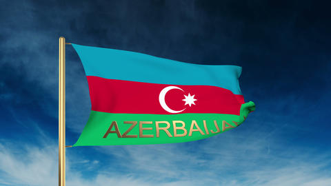 Azerbaijan flag slider style with title. Waving in the wind with cloud backgroun Animation