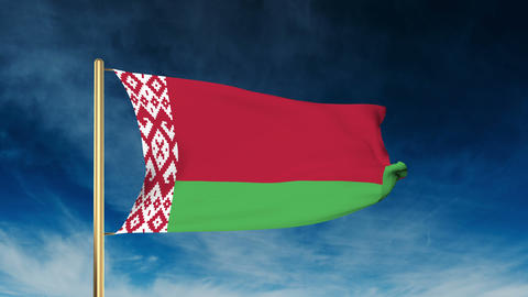 Belarus flag slider style. Waving in the win with cloud background animation Animation