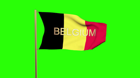 Belgium flag with title waving in the wind. Looping sun rises style. Animation l Animation