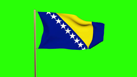 Bosnia and Herzegovina flag waving in the wind. Green screen, alpha matte. Loopa Animation
