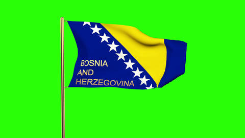 Bosnia and Herzegovina flag with title waving in the wind. Looping sun rises sty Animation