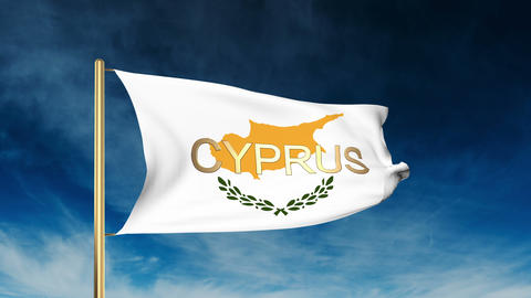 Cyprus flag slider style with title. Waving in the wind with cloud background an Animation