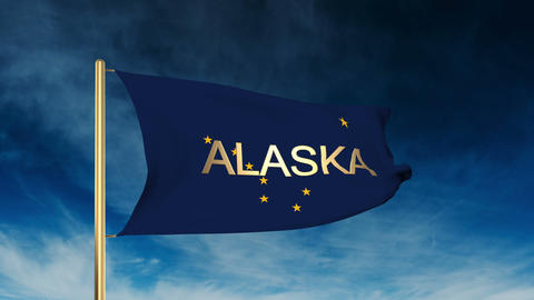 Alaska flag slider style with title. Waving in the wind with cloud background an Animation