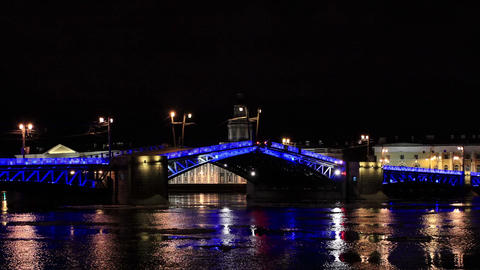 Night view of Opening Palace bridge in St. Petersburg, Russia. Full HD Footage