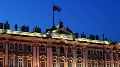 Russian flag on the Hermitage in St. Petersburg, Russia. Full HD Footage