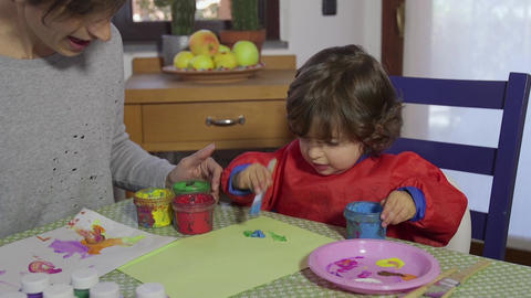 Happy Family Life With Mom And Child Playing At Home Footage