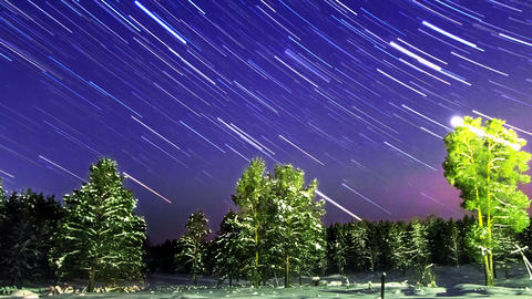 Star Trails. Zoom. Time Lapse Live Action