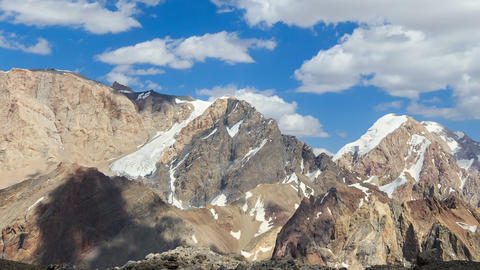 Clouds over the mountains. Pamir, Tajikistan. TimeLapse. 1280x720 Footage