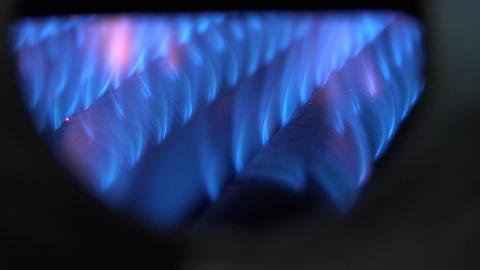 Blue Flames of a Gas Burner Inside of a Boiler. 4K UltraHD, UHD Footage