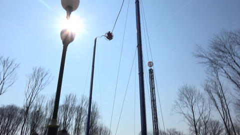 KHARKOV - APRIL 21: Gorky Park City, catapult attraction in action, on April 21, Footage