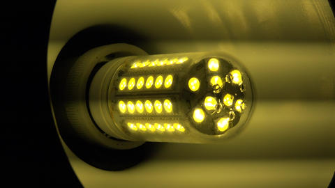 Led Light Corn Lamp Zooming with Flashing . 4K UltraHD, UHD Footage