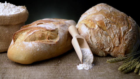 Rustic bread and wheat Footage
