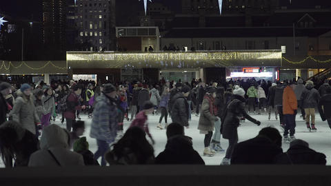 Ice Skating at Night. Outdoor skating rink Footage