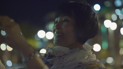 Asian woman taking picture Footage