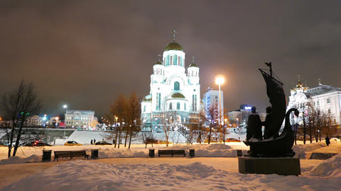Church on Blood in Honour and monument in Yekaterinburg. 4K Footage