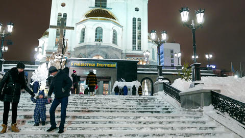 Stairs to the temple. Church on Blood. Ekaterinburg, Russia Footage