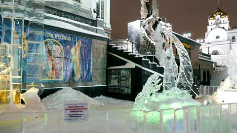 Ice sculptures. Church on Blood. Ekaterinburg, Russia. 4K Footage