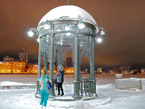 Iron arbor. Landmark. Ekaterinburg, Russia. 640x480 Stock Video Footage