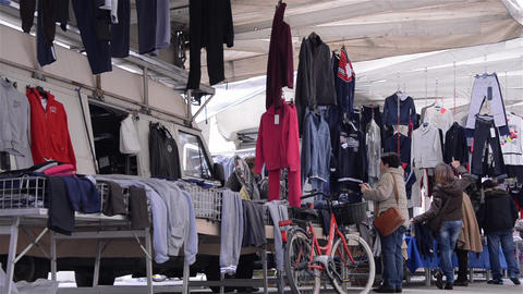 Pedestrian traffic in the clothing market 6 Stock Video Footage
